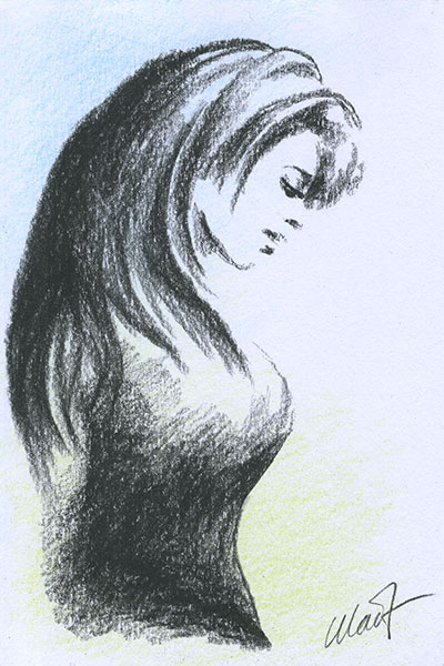 "Yelena Shabrova ~ A sketch a day: really quick portrait ~ charcoal and colored pencil on drawing paper, 4"" x 6"""