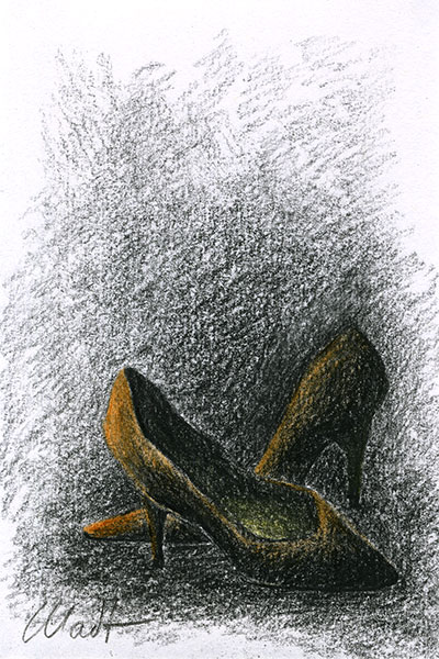"Yelena Shabrova ~ A sketch a day: shoes ~ colored pencils, China marker, 4"" x 6"""
