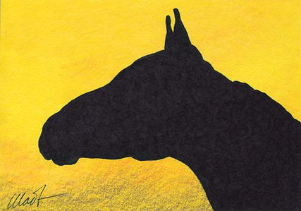 "Yelena Shabrova ~ A sketch a day: silhouette of a horse head ~ 6"" x 4"", colored pencil, ink, 6"" x 4"""
