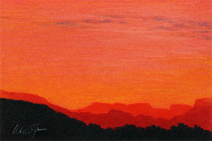 "Yelena Shabrova ~ A sketch a day: sunset mountains ~ colored pencils on colored paper, 6"" x 4"""