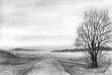 "Yelena Shabrova ~ A sketch a day: landscape with a road ~ charcoal, 6"" x 4"""