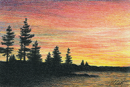 "Yelena Shabrova ~ A sketch a day: sunset ~ colored pencil, pastel pencil, 6"" x 4"""