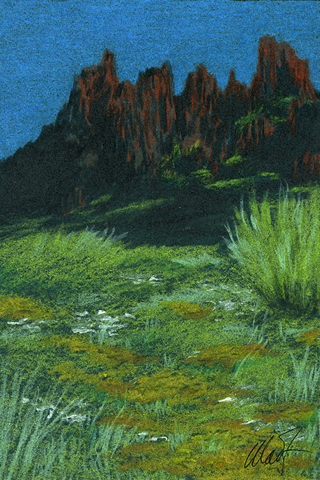 "Yelena Shabrova ~ A sketch a day: desert mountains ~ pastel pencil on colored paper, 4"" x 6"""