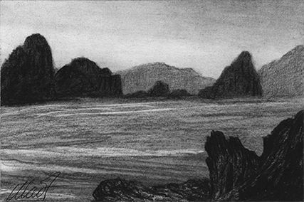 "Yelena Shabrova ~ A sketch a day: surf ~ charcoal, 6"" x 4"""