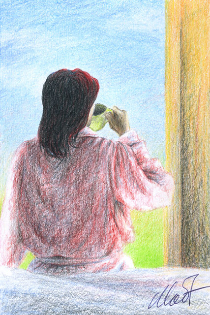 "Yelena Shabrova ~ A sketch a day: morning coffee ~ colored pencil, 4"" x 6"""