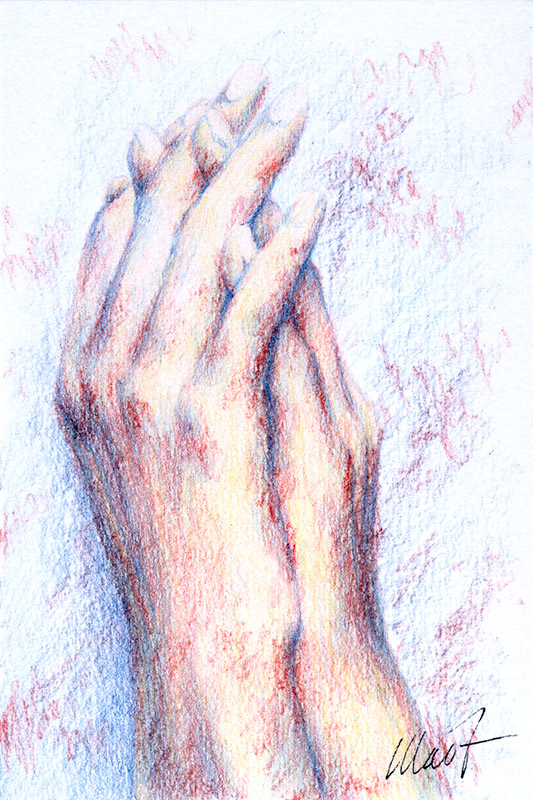 "Yelena Shabrova ~ Sketch: hands ~ colored pencil, 4 x 6"""