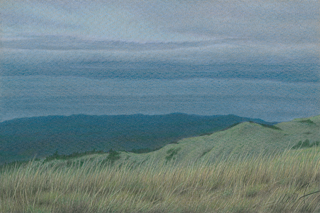 "Yelena Shabrova ~ Russian Ridge View - colored pencil on colored paper, 9"" x 6"""