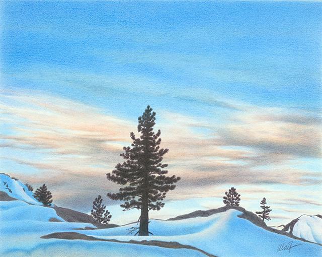 """Winter Dawn - colored pencil on Bristol paper, 20"""" x 16"""""""
