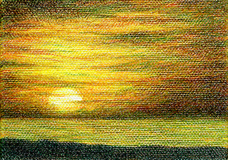 "Miniature - colored pencil on canvas, 3.5"" x 2.5"""