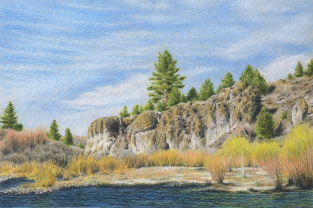 "Truckee River - colored pencil on colored paper, 9"" x 6"""