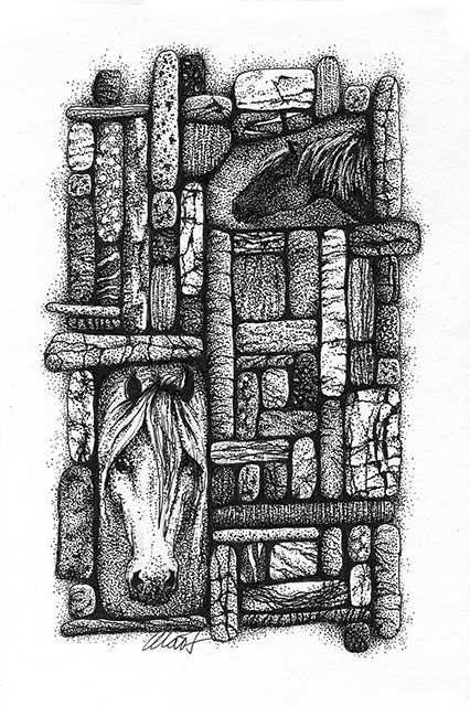 "Yelena Shabrova ~ Gathering II ~ pen and ink on drawing paper, 4"" x 6"""