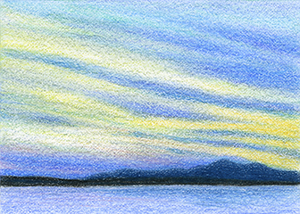 "Yelena Shabrova ~ sunset - ATC ~ colored pencil, 3.5"" x 2.5"""