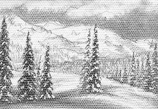 "White Fantasy (miniature) - graphite pencil on canvas, 3.5&"" x 2.5"", by Yelena-Shabrova"