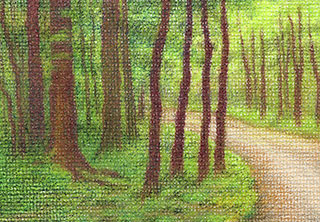 """Yelena Shabrova ~ Into the Woods (Miniature) ~ colored pencil on canvas, 3.5"""" x 2.5"""""""