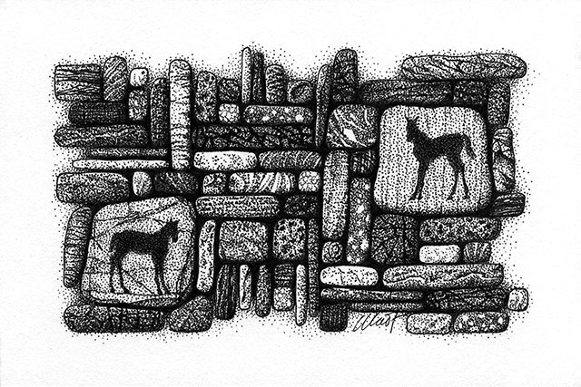 "Yelena Shabrova ~ Gathering III ~ pen and ink on drawing paper, 6"" x 4"""