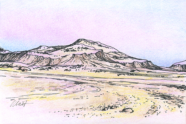 "Yelena Shabrova ~ A sketch a day: desert mountains ~ pen and ink, colored pencil on Canson drawing paper, 6"" x 4"""
