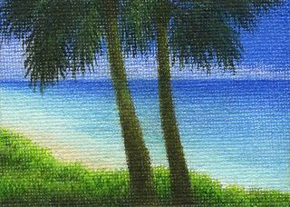 "Yelena Shabrova ~ Paradise (Miniature) ~ colored pencil on canvas, 3.5"" x 2.5"""