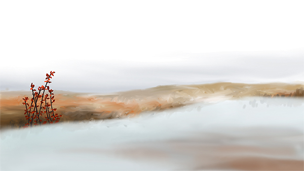 Yelena Shabrova ~ A sketch a day: snow landscape ~ digital art ~ winter, snow, bushes, twigs