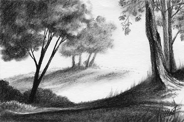 "Yelena Shabrova ~ A sketch a day: just so landscape ~ Derwent charcoal pencil on drawing paper, 6"" x 4"""