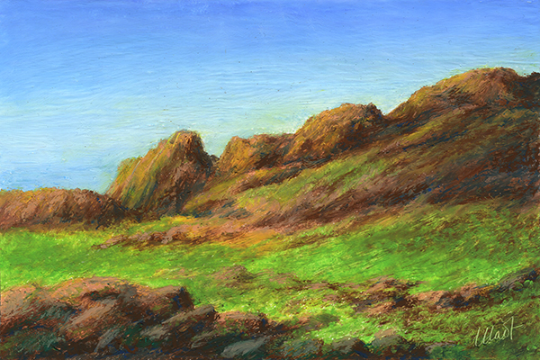 "Yelena Shabrova ~ A sketch a day: rocky terrain ~ oil pastel, 6"" x 4"""
