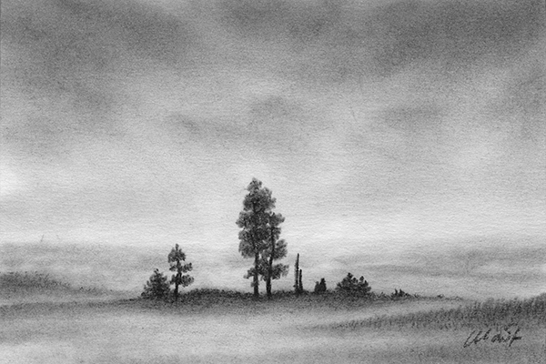 "Yelena Shabrova ~ A sketch a day: foggy scene ~ Derwent charcoal pencil on Canson drawing paper, 6"" x 4"""
