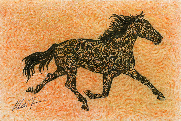 "Yelena Shabrova ! A sketch a day: running horse ~ pen and ink, colored pencil, 6"" x 4"""