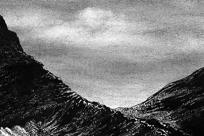 "Yelena Shabrova ~ A sketch a day: mountains ~ charcoal, pen and ink, 6"" x 4"""